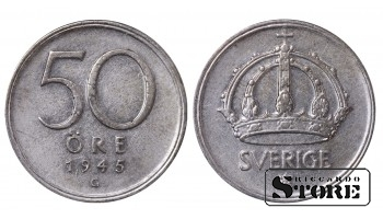 1945 Sweden King Gustav V (1908 - 1950) Coin Coinage Standard 50 Ore KM#817 #SW146