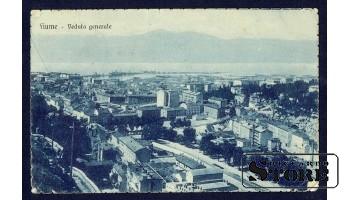 Старинная итальянская открытка Вид города сверху