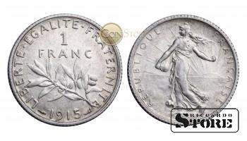 Франция , 1 франк 1915 год , Серебро 5 г , Третья Республика (1870 - 1941)