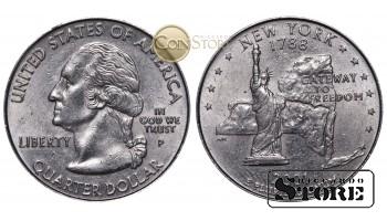 Монеты США , 1/4 доллара - 2001 год P (Квотер штата Нью-Йорк)