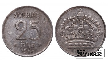 1958 Sweden King Gustaf VI Adolf (1950 - 1973) Coin Coinage Standard 25 Ore KM#824 #SW182