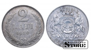 1926 Latvia First Republic (1922 - 1940) Coin Coinage Standard 2 Lati KM# 8 #LV248
