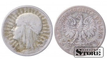 1933 Poland Second Republic (1919 - 1939) Coin Coinage Standard 2 zlote KM# 20 #26