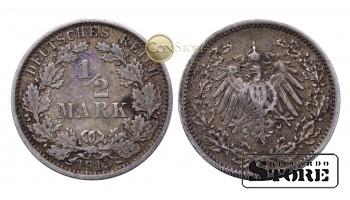 Монета Германия ,  1/2 марки  1915 год , Серебро