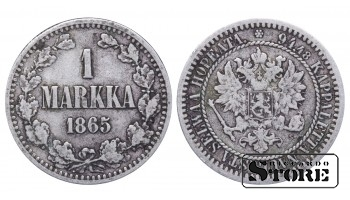 1865 Finland Emperor Nicholas II (1895 - 1917) Coin Coinage Standard 1 markka KM#3 #F363