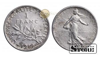 Франция , 1 франк 1919 год , Серебро 5 г , Третья Республика (1870 - 1941)