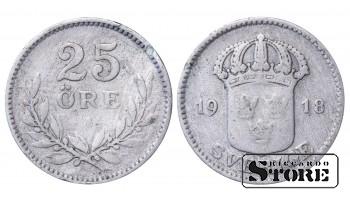 1918 Sweden King Gustav V (1908 - 1950) Coin Coinage Standard 25 ore KM# 785 #34