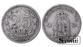 1904 Sweden King Gustav V (1908 - 1950) Coin Coinage Standard 25 ore KM# 785 #36
