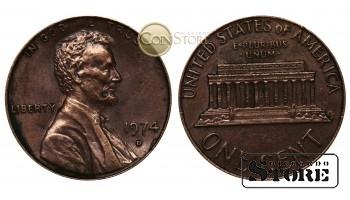 Монеты США , 1 цент 1974 год D