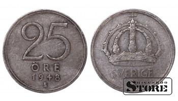 1948 Sweden King Gustav V (1908 - 1950) Coin Coinage Standard 25 Ore KM # 816 # SW190