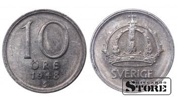 1948 Sweden King Gustav V (1908 - 1950) Coin Coinage Standard 10 Ore KM#813 #SW199
