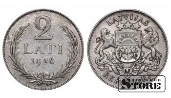1926 Latvia First Republic (1922 - 1940) Coin Coinage Standard 2 Lati KM#8 #LV475