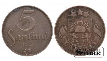 1922 Latvia First Republic (1922 - 1940) Coin Coinage Standard 5 Santimi KM#3 #LV472