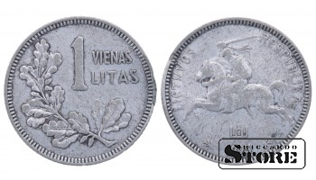 1925 Lithuania First Republic (1925 - 1938) Coin Coinage Standard 1 litas KM# 76 #LT281