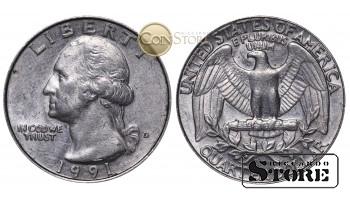 Монеты США , 1/4 доллара - 1991 год D