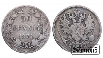 1874 Finland Emperor Nicholas II (1895 - 1917) Coin Coinage Standard 50 pennia KM#2 #F411