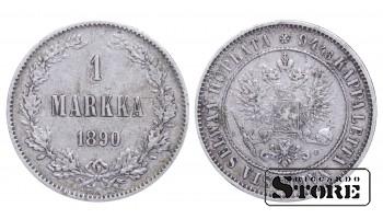 1890 Finland Emperor Nicholas II (1895 - 1917) Coin Coinage Standard 1 markka KM#3 #F349