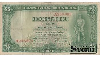 БАНКНОТА , ЛАТВИЯ , 25 лат 1938 год , A258,893