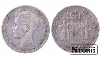 1900 Spain King Alfonso XIII (1886 - 1931) Coin Coinage Standard 1 peseta KM# 706 #27