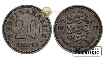 Эстония , 20 центов 1935 год , бронза-никелевый сплав