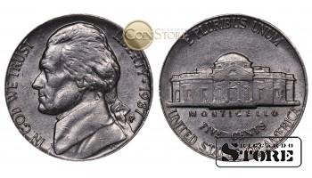 Монеты США , 5 центов - 1987 год P