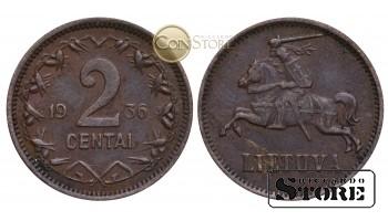 Литва , 2 ЦЕНТА 1936 ГОД , Бронза
