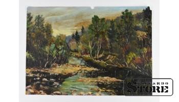 Картина, Лесной Пейзаж  , картон - масло , 43X31 СМ , Арманд Берзиньш , 1961 год
