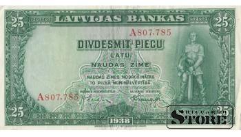 БАНКНОТА , ЛАТВИЯ , 25 ЛАТ 1938 ГОД - A807,785