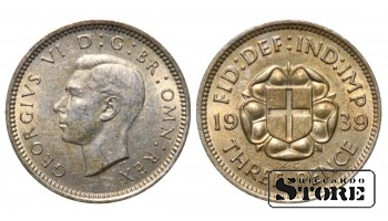1939 Great Britain UK Coin Silver Ag Coinage Rare 3 Pence KM#848 #UK710