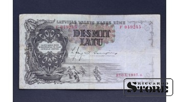 БАНКНОТА , ЛАТВИЯ , 10 ЛАТ 1937 F 049245
