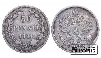 1891 Finland Emperor Nicholas II (1895 - 1917) Coin Coinage Standard 50 pennia KM#2 #F404