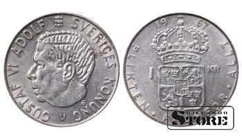 1967 Sweden King Gustaf VI Adolf (1950 - 1973) Coin Coinage Standard 1 Krona KM#826 #SW142