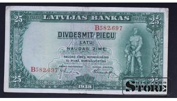 БАНКНОТА , ЛАТВИЯ , 25 ЛАТ 1938 ГОД - B582697