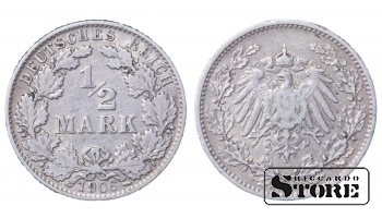 1906 GERMANY GERMAN EMPIRE (1871 - 1922) SILVER COIN COINAGE STANDARD 1/2 MARK KM# 17 #25