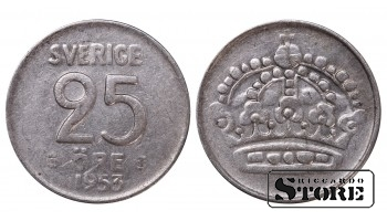 1953 Sweden King Gustaf VI Adolf (1950 - 1973) Coin Coinage Standard 25 Ore KM#824 #SW175