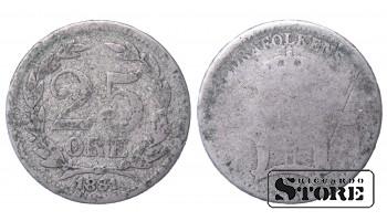 1881 Sweden King Oscar II (1873 - 1907) Coin Coinage Standard 25 ore KM# 739 #31