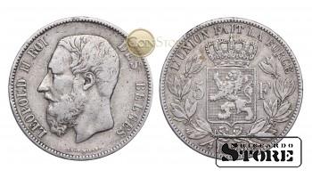 Бельгия , 5 франков 1873  год , Серебро 25 г - Король Леопольд II (1865 - 1909)