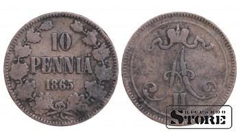 1865 Finland Emperor Alexander II (1864 - 1880) Coin Coinage Standard 10 Penia KM#5 #F420