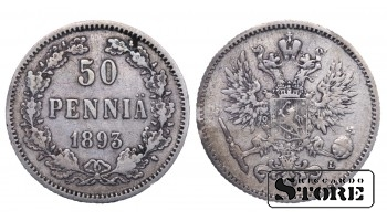 1893 Finland Emperor Nicholas II (1895 - 1917) Coin Coinage Standard 50 pennia KM#2 #F403