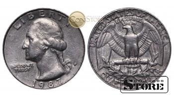 Монеты США , 1/4 доллара - 1987 год P