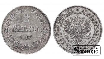 1907 Finland Emperor Nicholas II (1895 - 1917)) Coin Coinage Standard 2 markkaa KM#7 #F327