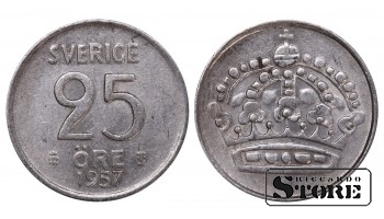 1957 Sweden King Gustaf VI Adolf (1950 - 1973) Coin Coinage Standard 25 Ore KM#824 #SW177