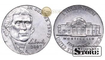 Монеты США , 5 центов - 2007 год D