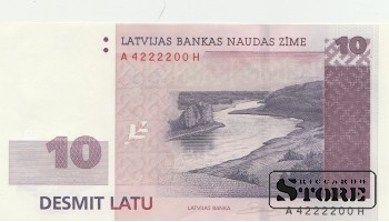 BANKNOTE, LATVIA, 10 Lats 2008 - AUNC