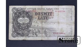 БАНКНОТА , ЛАТВИЯ , 10 ЛАТ 1937 год - S 032738