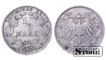1905 Germany German Empire (1871 - 1922) Silver Coin Coinage Standard 1/2 Mark KM# 17 #23