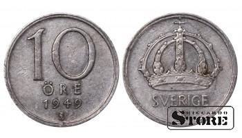 1949 Sweden King Gustav V (1908 - 1950) Coin Coinage Standard 10 Ore KM#813 #SW216