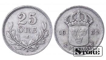 1932 Sweden King Gustav V (1908 - 1950) Coin Coinage Standard 25 ore KM# 785 #50