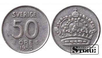 1953 Sweden King Gustaf VI Adolf (1950 - 1973) Coin Coinage Standard 50 Ore KM#825 #SW144