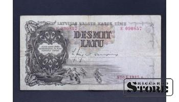 БАНКНОТА , ЛАТВИЯ , 10 ЛАТ  1937 год - E 090857